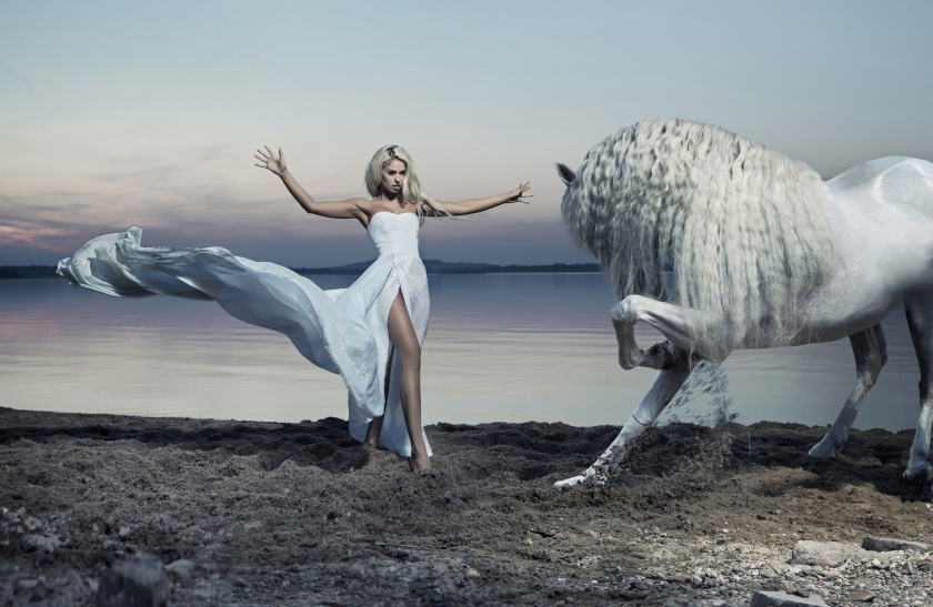 Alluring woman taming the white horse